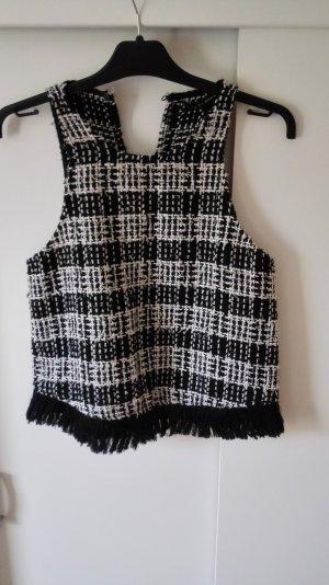 Zara Boucle Top schwarz weiß Größe 36 S