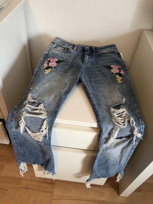 Zara Boyfriend Jeans bestickt benäht