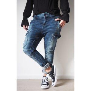 Zara Boyfriend Jeans dunkelblau 38 40 lässige Denim Baggy Slim Hose