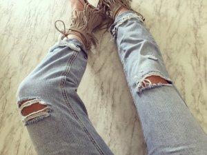 Zara Boyfriend Jeans used destroyed Blogger Löcher