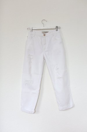 Zara Boyfriend Mom Jeans High Waist used Look in weiß Gr. 40 Blogger