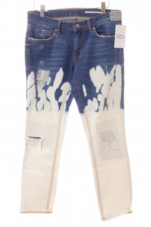Zara Boyfriendjeans blau-weiß Bleached-Optik