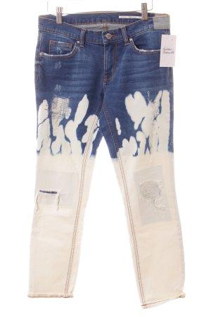 Zara Jeans boyfriend bleu-blanc lavage à l'acide