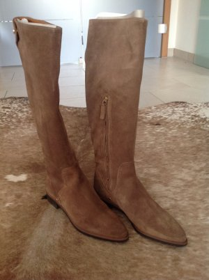 Zara Woman Jackboots bronze-colored suede