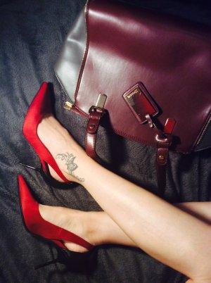 Zara Talons hauts rouge foncé daim