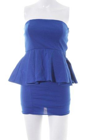 Zara Vestido bustier azul neón-color oro estilo fiesta