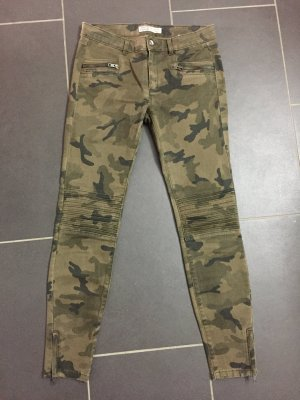 ZARA Camouflage Jeans Hose 36 Grün Khaki Olive