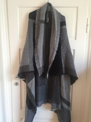 ZARA Cape Poncho Jacke Mantel Cardigan Jacket Schal Grau Dunkelgrau Schwarz NEU