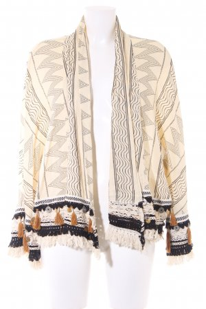 Zara Cardigan creme-schwarz Aztekenmuster extravaganter Stil
