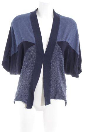 Zara Cardigan dunkelblau-himmelblau Karomuster Casual-Look
