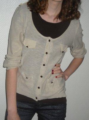 ZARA Cardigan Pullover Strick Jacke beige creme Nieten Knöpfe S H M L 36 38 40