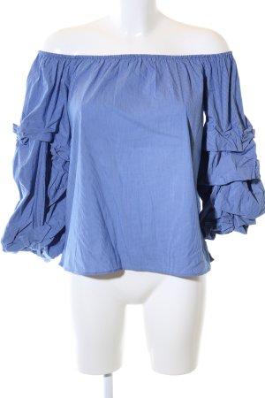 Zara Blusa tipo Carmen azul look casual