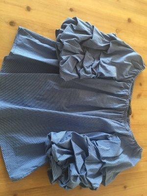 Zara Carmen-Bluse blau/weiß Gr. S - wie neu!