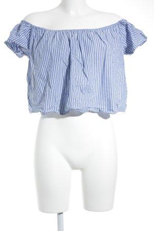 Zara Carmen-Bluse blau-weiß Streifenmuster Boho-Look