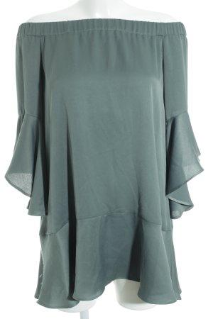 Zara Carmen-Bluse dunkelgrün Boho-Look