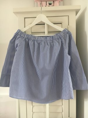Zara Carmen blouse wit-donkerblauw