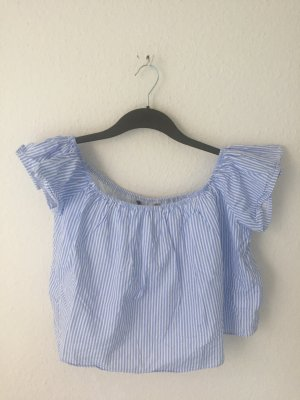 Zara Basic Blusa alla Carmen bianco-azzurro