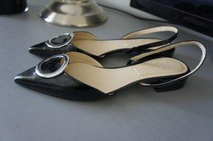 ZARA Celine Ballerinas Pumps Slingback Kitten Heels 38 Spitz