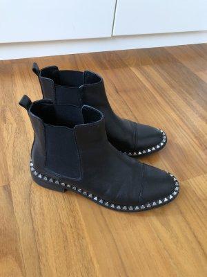 Zara Chelsea Boots black-silver-colored