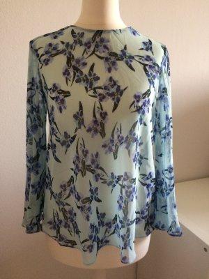 Zara Chiffon Bluse neu 36 S T-Shirt Top blau Blogger Blumen floral geblümt