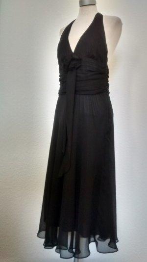 Zara Chiffon Kleid Neckholder Kleid schwarz Gr. L 40 knielang Cocktailkleid