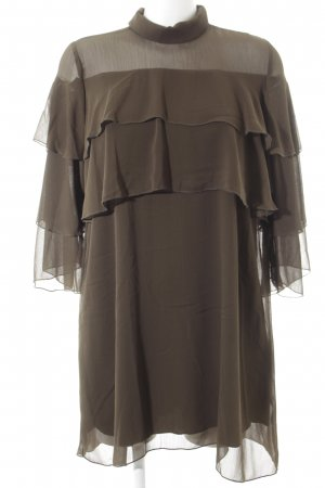 Zara Vestido de chifón caqui estilo romántico