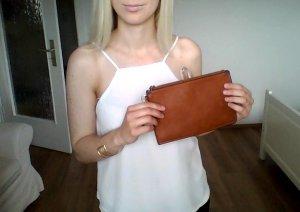 Zara Clutch Leder braun