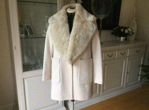 Zara Coat Mantel Jacke Fellkragen Nude Puder M 40 42