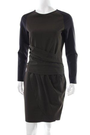 Zara Cocktailkleid olivgrün-schwarz Colourblocking schlichter Stil