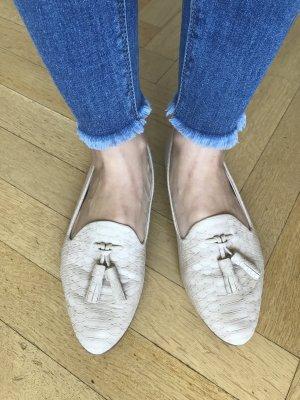 ZARA COLLECTION Tassel Loafer Ballerinas Schlangenoptik nude beige 37 SOLD OUT