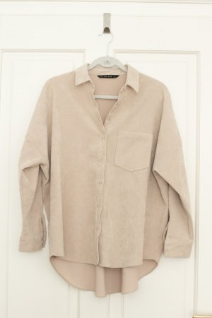Zara Camisa de manga larga beige claro Algodón
