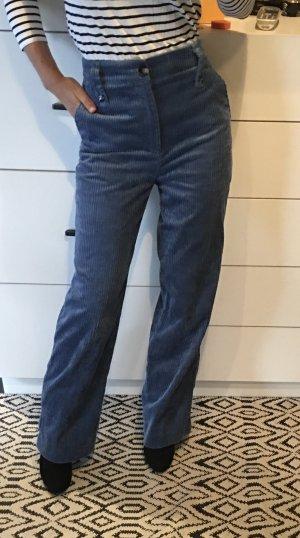 Zara Cordhose Kordhose High waist ausgestellt Flared blau S 36 weites Bein