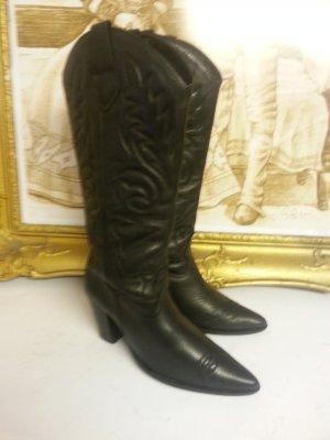 Zara Cowboystiefel Echtleder Gr. 39 schwarz