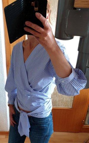 Zara Basic Camicetta aderente bianco-azzurro