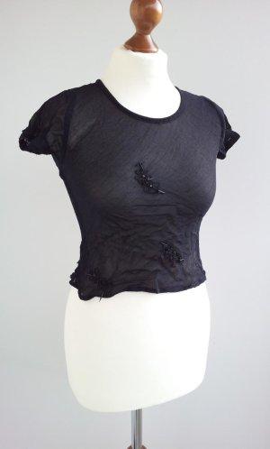 Zara Crop-Top / Bluse in S (36), Schwarz , 3D-Strassbesatz