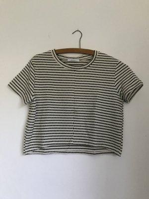 Zara Crop Top schwarz weiß cremeweiß gestreift S