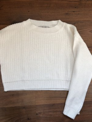 Zara Cropped Pullover weiß