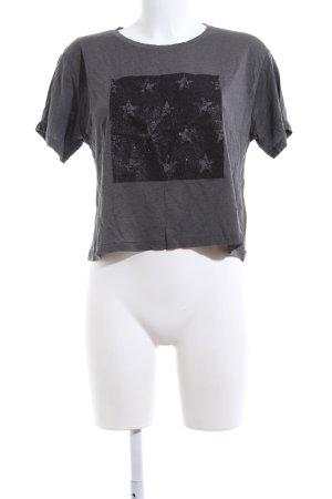 Zara Camicia cropped grigio chiaro-nero Stampa a tema stile casual