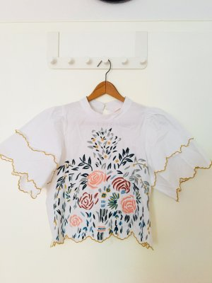 Zara Cropped Shirt mit Stickerei
