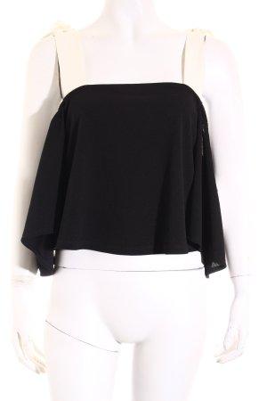 Zara Cropped Shirt schwarz-wollweiß Romantik-Look