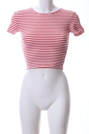 Zara Camicia cropped bianco-rosso motivo a righe stile casual