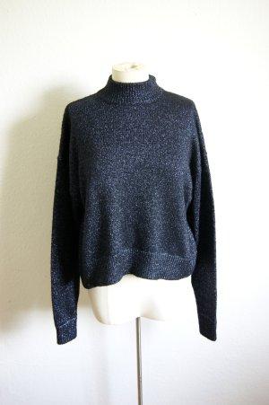 Zara cropped Strickpullover blau glitzernd, Turtle neck Pullover