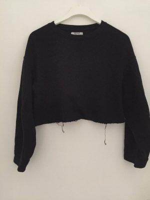 Zara Cropped Sweater Schwarz Gr S