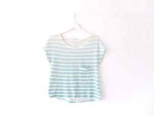 Zara cropped T-Shirt Gr. M 38 40 mint weiß gestreift Kastenshirt