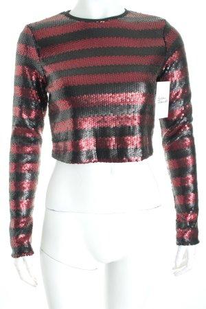 Zara Cropped Top grau-dunkelrot Paillettenverzierung