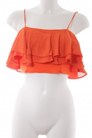 Zara Cropped Top neonorange Lagen-Look