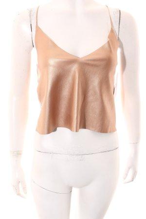 Zara Cropped Top roségoldfarben Metallic-Optik