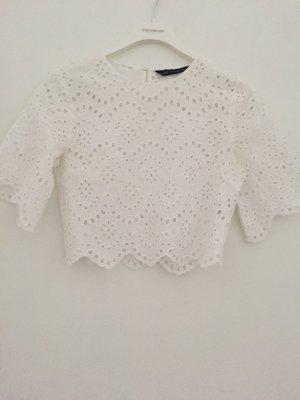 Zara Cropped Top Weiß 36