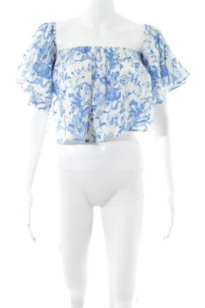 Zara Cropped Top weiß-blau Beach-Look
