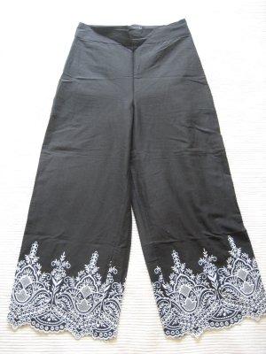 zara culotes sommerhose schwarz mit stickerei neu gr. s 36